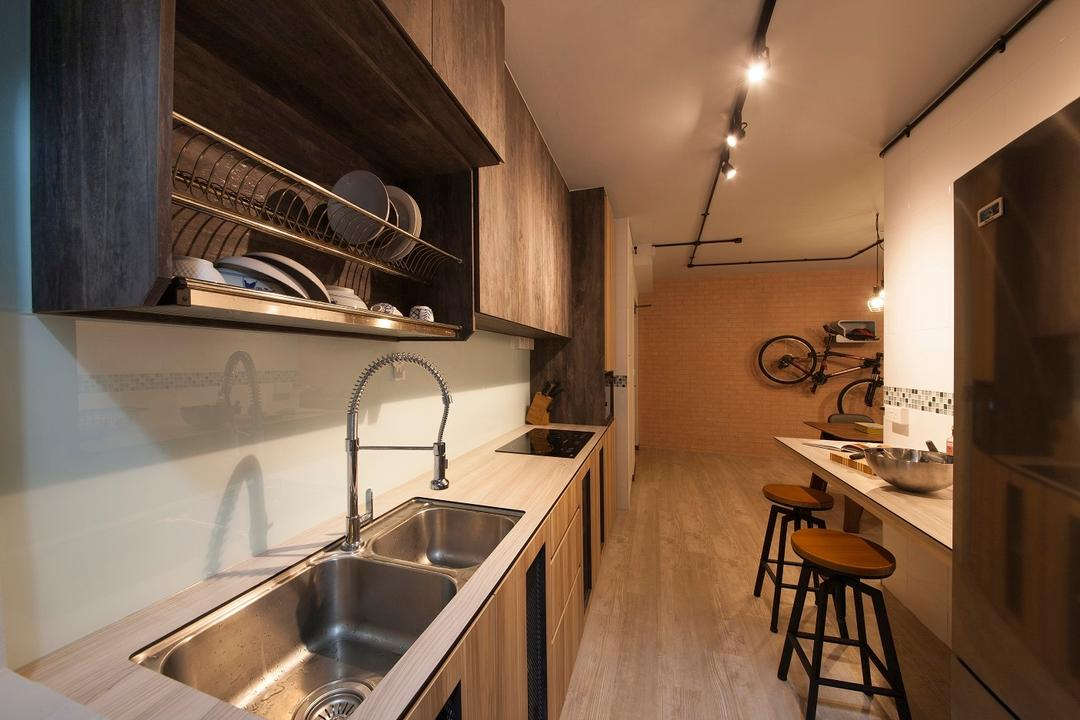 Yishun Avenue 9, Ace Space Design, Industrial, Kitchen, HDB, Dish Rack, Sink, Kitchen Counter, Wet Kitchen, Dry Kitchen, Track Lights, Woody, Backsplash, Clean, Simple, Easy To Maintain, Bar Stool, Counter, Furniture