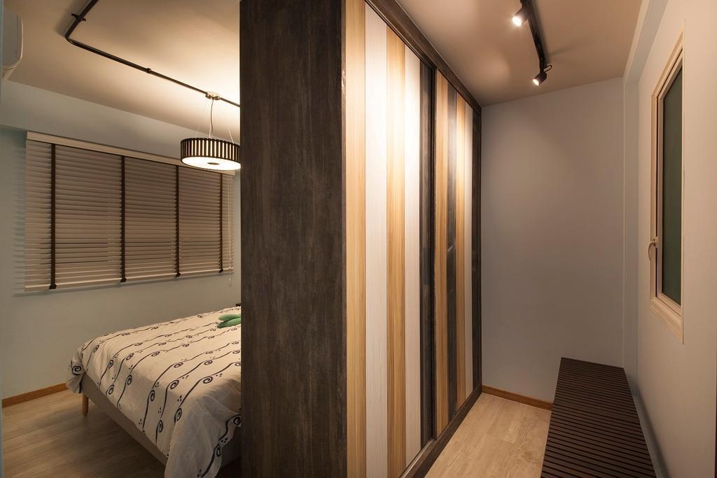 Industrial, HDB, Bedroom, Yishun Avenue 9, Interior Designer, Ace Space Design, Walk In Wardrobe, Cupboard, Bench, Track Lights, Venetian Blinds, Woody, Wood Accents, Laminate, Indoors, Interior Design, Room