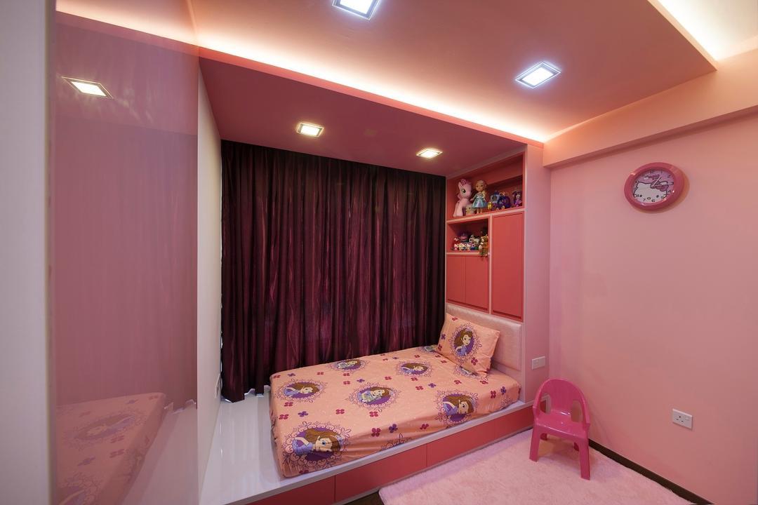 Yuan Ching, Ace Space Design, Traditional, Bedroom, HDB, Pink, Kids Room, Kids, Children, Infant, Kids Room, Pink Walls, Pink Bed, Girls Room, Lighting, Indoors, Interior Design, Room, Basement