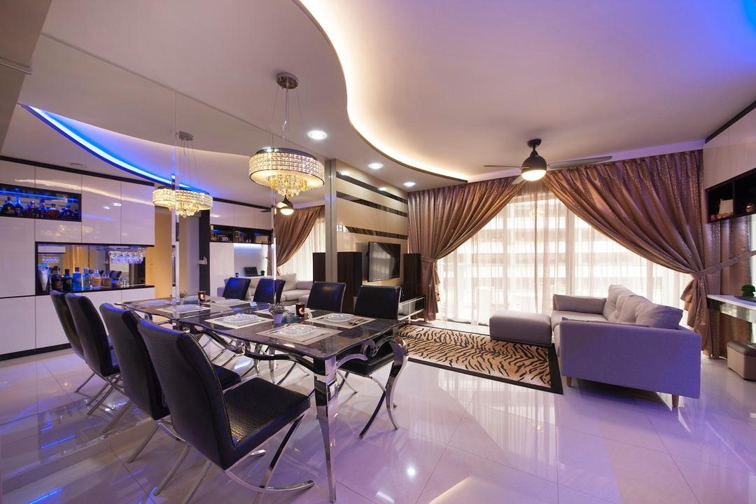 Yuan Ching, Ace Space Design, Traditional, Dining Room, HDB, Concealed Lighting, Curve Ceiling, Curtains, Blue Lights, Mirror, Dining Table, Tiles, Rug, Sofa, Chair, Furniture, Table, Indoors, Interior Design