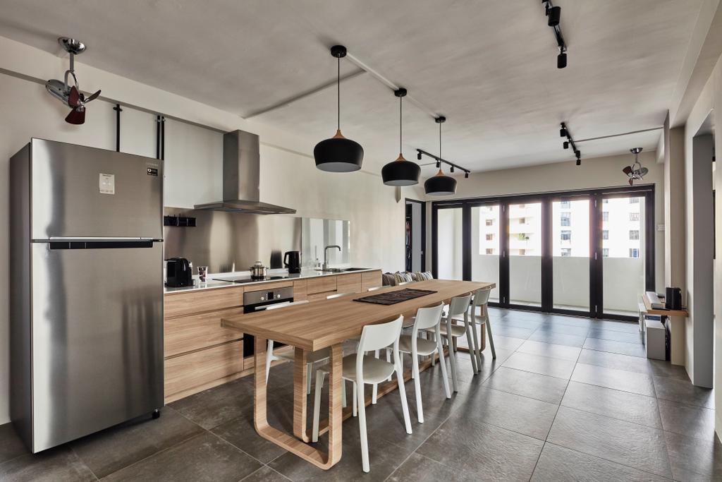 Industrial, HDB, Kitchen, Sembawang Close, Interior Designer, Voila, Dining Table, Furniture, Table, Dining Room, Indoors, Interior Design, Room