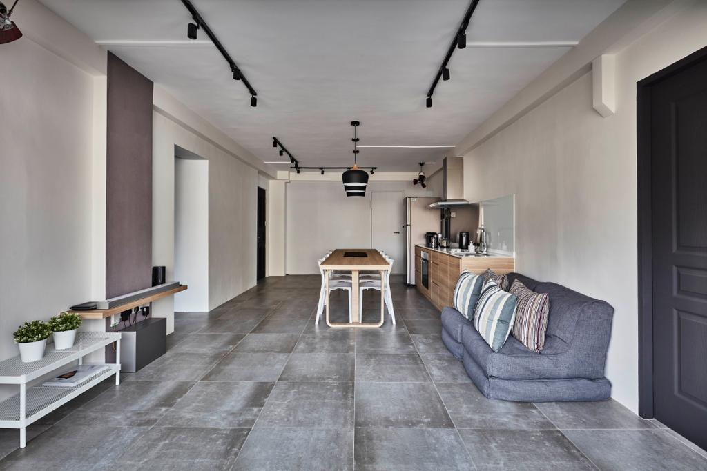 Industrial, HDB, Living Room, Sembawang Close, Interior Designer, Voila