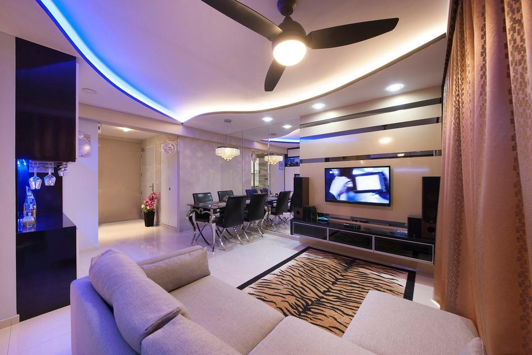 Yuan Ching, Ace Space Design, Traditional, Living Room, HDB, Curtains, Rug, Tv Console, False Ceiling, Ceiling Fan, Feature Wall, Sofa, Blue Lights, Concealed Lighting, Light Fixture, Couch, Furniture, Electronics, Entertainment Center, Home Theater, Corridor, Indoors, Interior Design