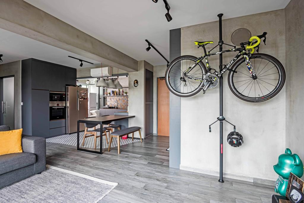 Industrial, HDB, Living Room, Anchorvale Crescent, Interior Designer, DB Studio, Bicycle, Bike, Mountain Bike, Transportation, Vehicle, Dining Table, Furniture, Table