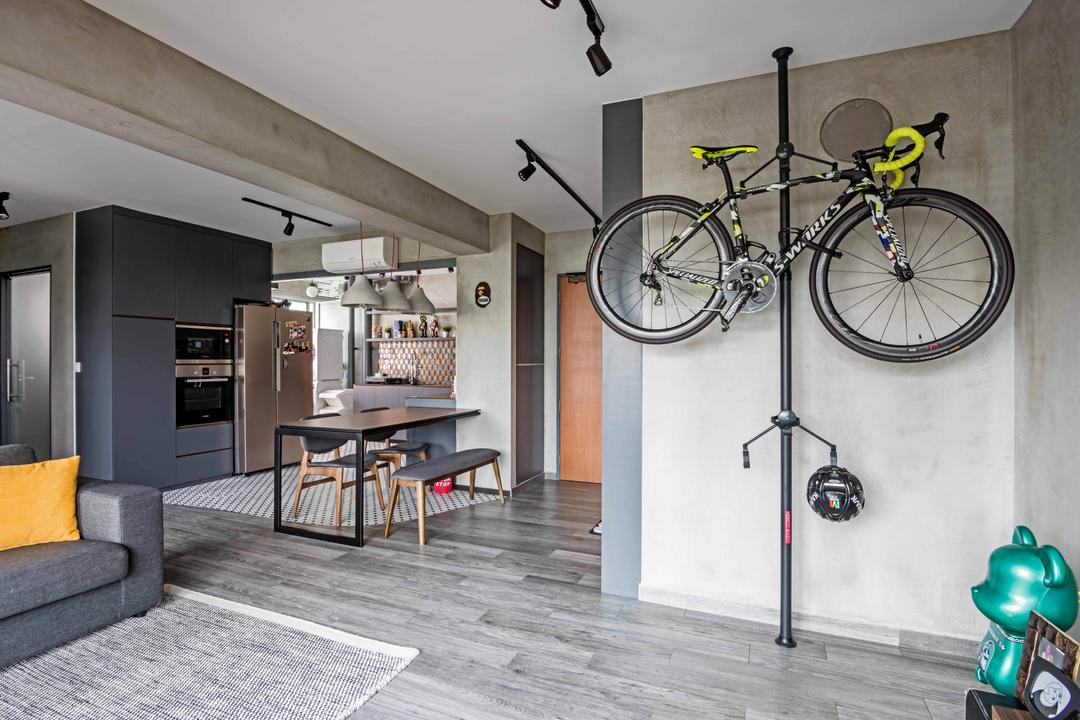 Anchorvale Crescent, DB Studio, Industrial, Living Room, HDB, Bicycle, Bike, Mountain Bike, Transportation, Vehicle, Dining Table, Furniture, Table