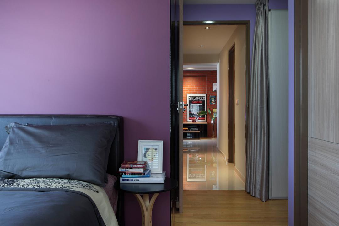City View, Fuse Concept, Eclectic, Bedroom, HDB, Purple Wall, Bed, Hallway, Entrance, Room Entrance, Corridor, Walkway, Building, Housing, Indoors, Couch, Furniture