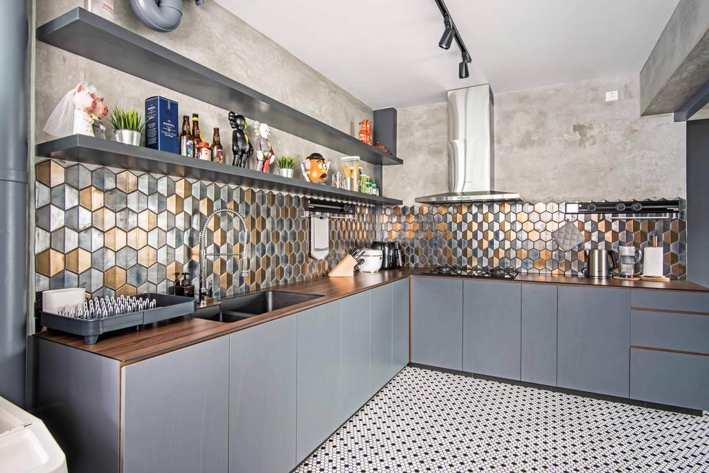 Industrial, HDB, Kitchen, Anchorvale Crescent, Interior Designer, DB Studio