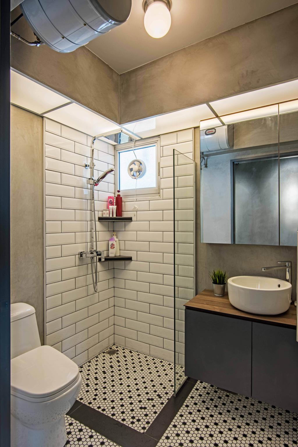 Industrial, HDB, Bathroom, Anchorvale Crescent, Interior Designer, DB Studio, Indoors, Interior Design, Room, Bathtub, Tub