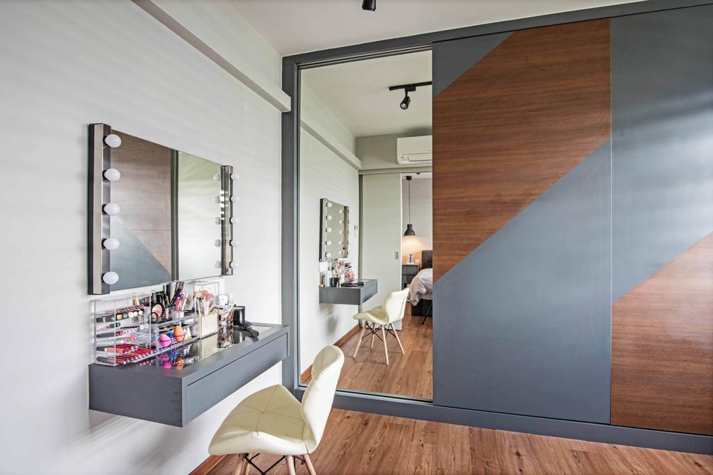 Industrial, HDB, Study, Anchorvale Crescent, Interior Designer, DB Studio, Shelf, Door, Sliding Door, Indoors, Interior Design