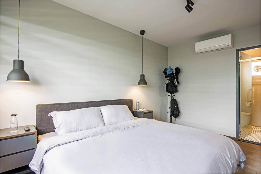 Industrial, HDB, Bedroom, Anchorvale Crescent, Interior Designer, DB Studio, Indoors, Interior Design, Room, Bed, Furniture