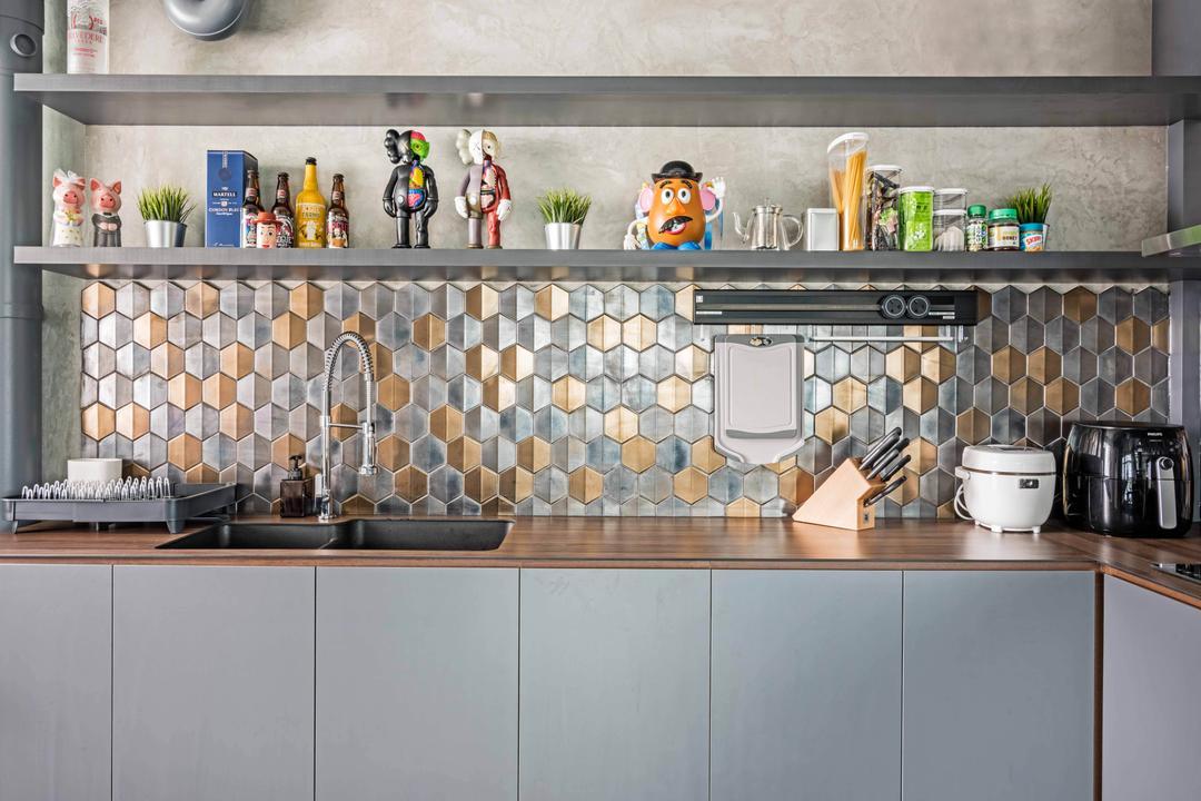 Anchorvale Crescent, DB Studio, Industrial, Kitchen, HDB, Figurine, Shelf