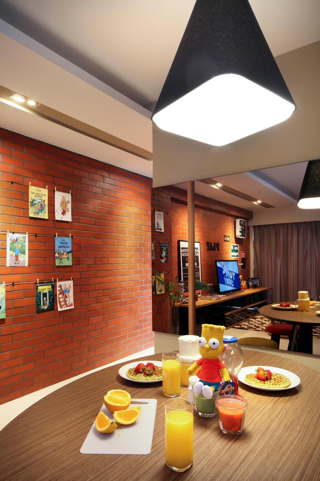 Eclectic, HDB, Dining Room, City View, Interior Designer, Fuse Concept, Mirror, Dining Table, Hanging Light, Hanging Lamp, Pendant Lamp, Big Lamp, Red Brick Wall, Round Table, Furniture, Table, Cafe, Restaurant, Indoors, Interior Design