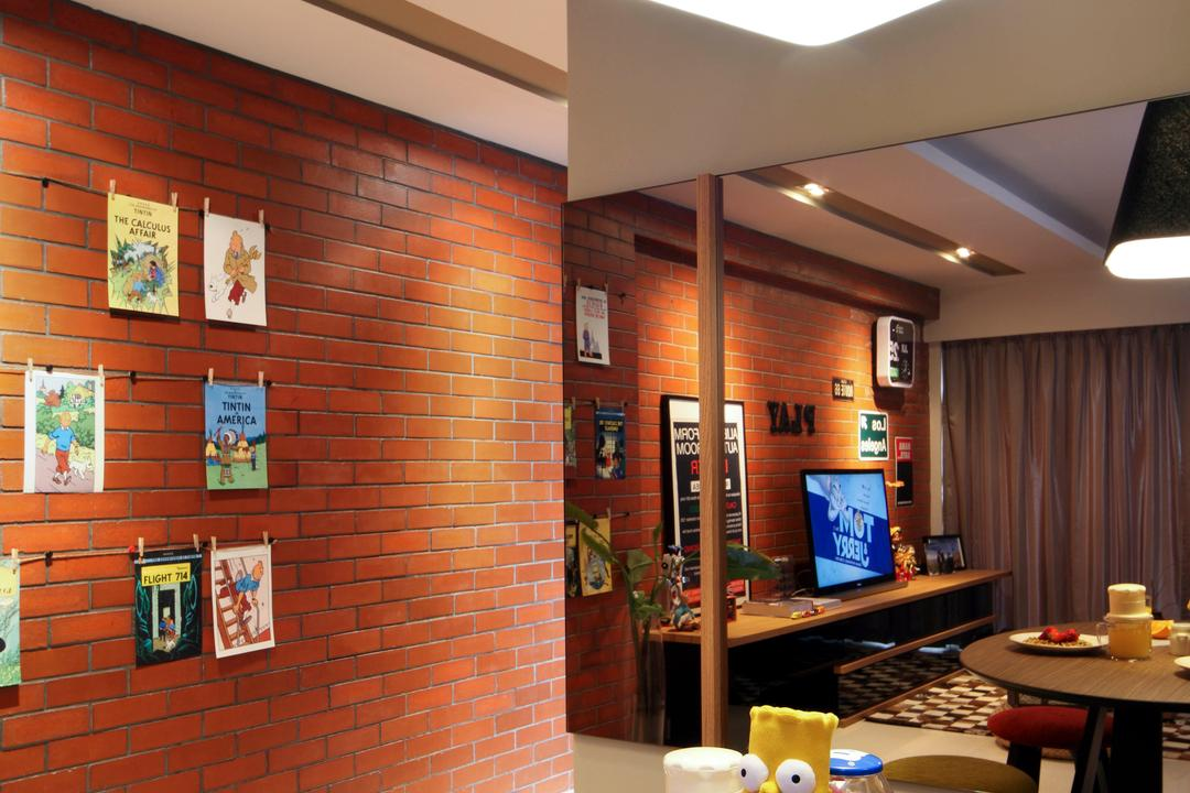 City View, Fuse Concept, Eclectic, Dining Room, HDB, Mirror, Dining Table, Hanging Light, Hanging Lamp, Pendant Lamp, Big Lamp, Red Brick Wall, Round Table, Furniture, Table, Cafe, Restaurant, Indoors, Interior Design