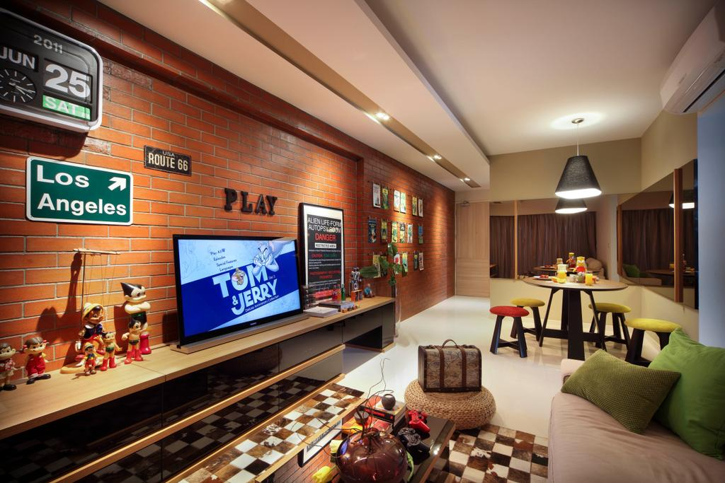 Eclectic, HDB, Living Room, City View, Interior Designer, Fuse Concept, Red Brick, Brick Wall, Television Console, Recessed Lighting, Signages, Wall Art, Quirky, Dining Table, Furniture, Table, Couch, Indoors, Interior Design