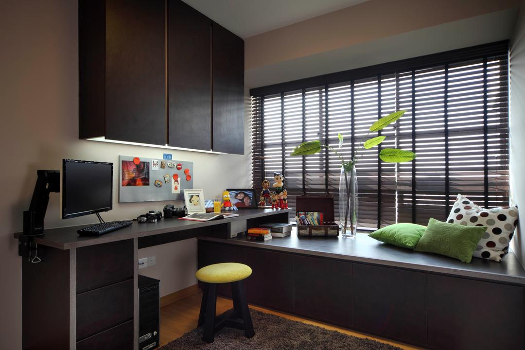 City View, Fuse Concept, Eclectic, Study, HDB, Blinds, Dark Blinds, Plant, Bay Window, Window Seat, Reading Nook, Window Ledge, Work Desk, Study Desk, Desk, Book Shelf, Wall Cabinet, Dark, Bar Stool, Furniture