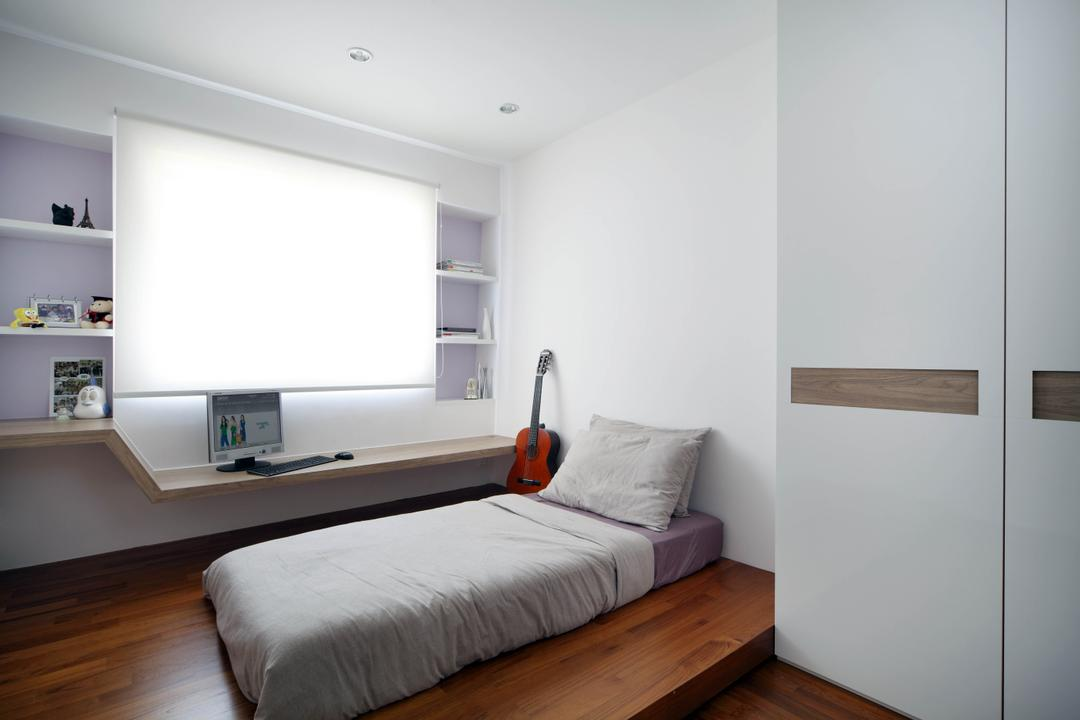 Sengkang East, Fuse Concept, Contemporary, Bedroom, HDB, Platform, Bed, Wardrobe, White, Clean, Simple, Monochromatic, Study Ledge, Window Ledge, Blinds, Wall Cabinet, Indoors, Interior Design, Room, Furniture