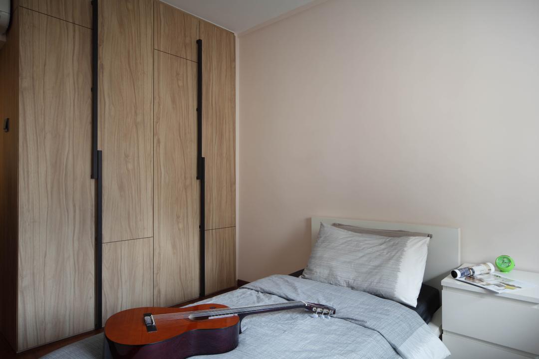 Sengkang East, Fuse Concept, Contemporary, Bedroom, HDB, Wardrobe, Unique Door Handle, Door Handle, Bed, Bedside Table, White, Brown, Simple, Clean, Indoors, Interior Design, Room