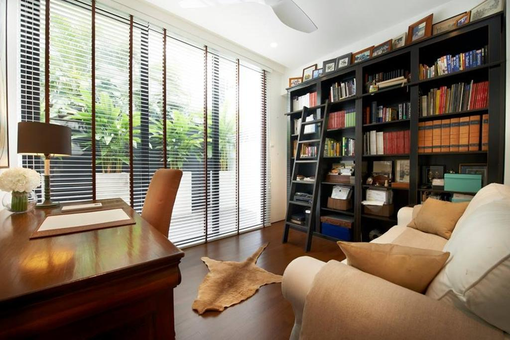 Modern, Landed, Study, Chiselhurst Grove, Interior Designer, akiHAUS, Couch, Furniture, Hardwood, Wood