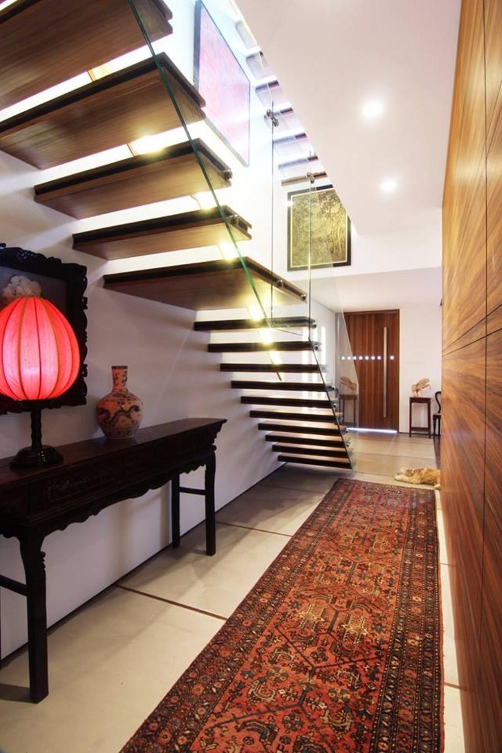 Modern, Landed, Chiselhurst Grove, Interior Designer, akiHAUS, Jar, Pottery, Vase, Banister, Handrail, Staircase, Lamp, Lantern