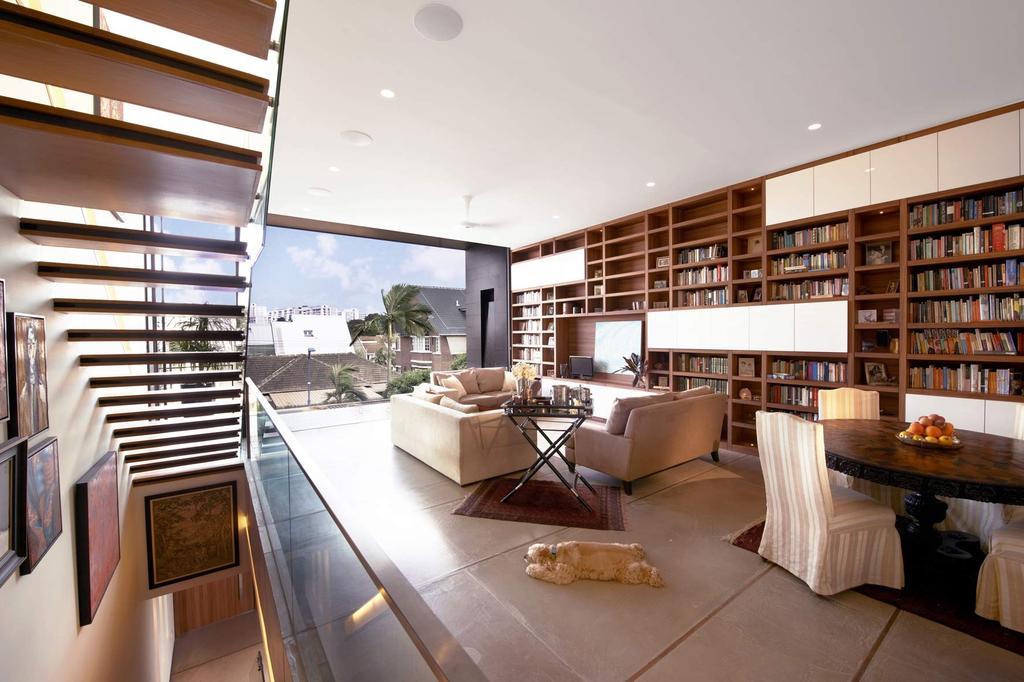 Modern, Landed, Living Room, Chiselhurst Grove, Interior Designer, akiHAUS, Indoors, Interior Design, Library, Room, Banister, Handrail, Staircase, Dining Table, Furniture, Table
