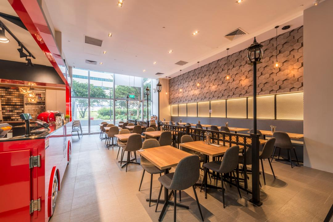 Food Philo, DreamCreations Interior, Eclectic, Commercial, Dining Table, Furniture, Table, Chair, Food, Food Court, Restaurant