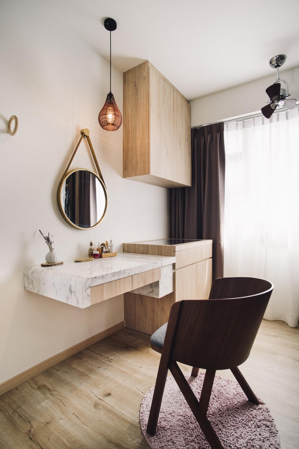 Scandinavian, HDB, Bedroom, Bendemeer Road, Interior Designer, Urban Habitat Design, Dresser, Vanity, Chair, Furniture