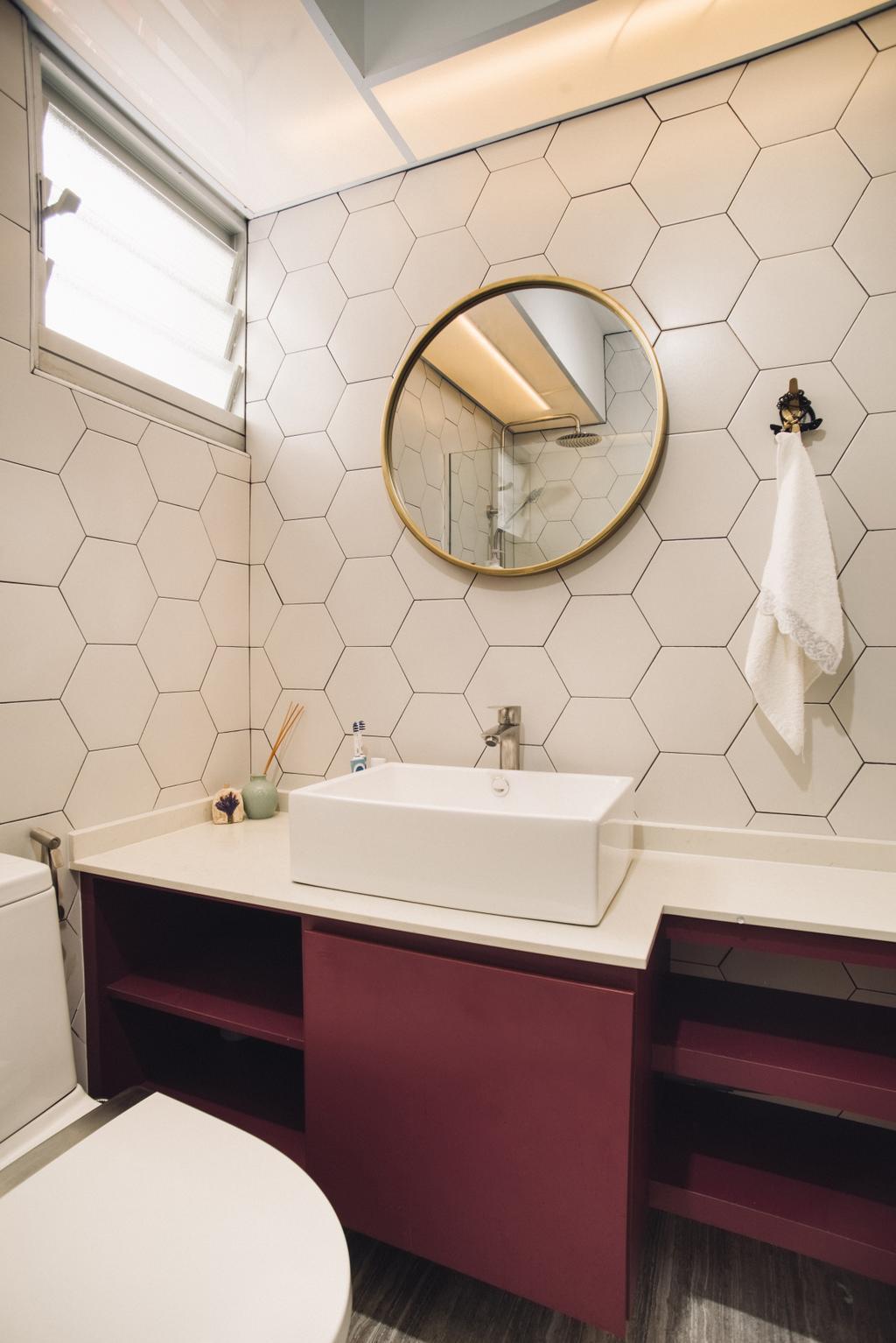 Scandinavian, HDB, Bathroom, Bendemeer Road, Interior Designer, Urban Habitat Design, Maroon, Honeycomb