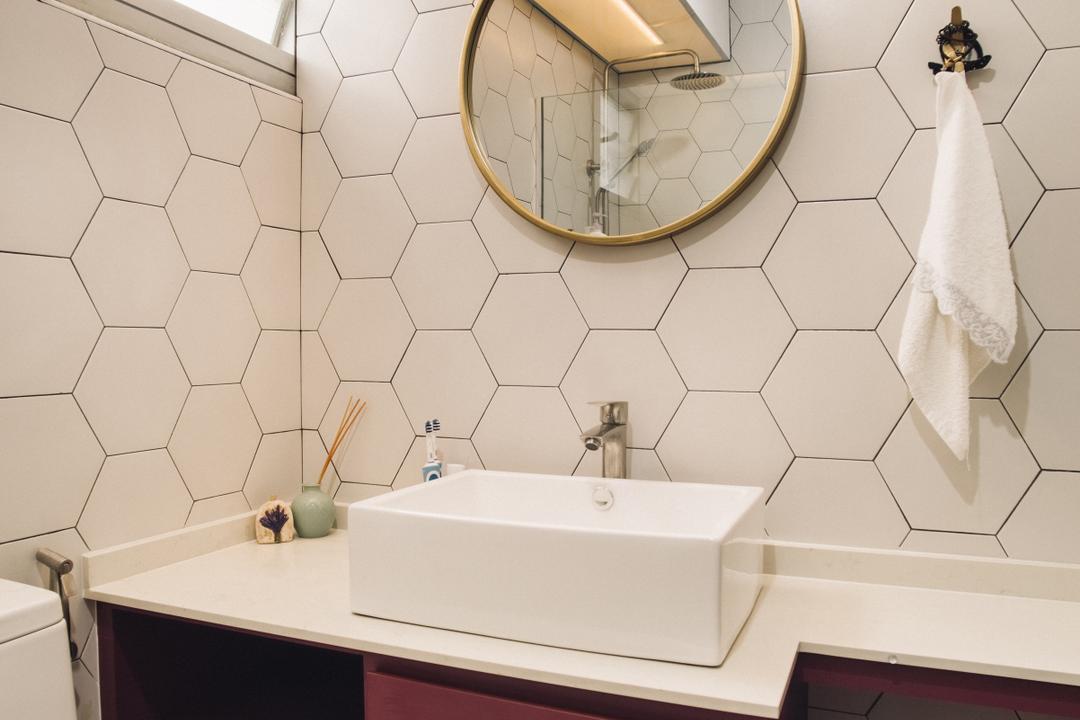 Bendemeer Road, Urban Habitat Design, Scandinavian, Bathroom, HDB, Maroon, Honeycomb