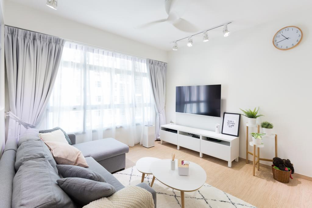 Scandinavian, HDB, Living Room, Anchorvale Crescent, Interior Designer, Chapter One Interior Design, Indoors, Room, Dining Table, Furniture, Table, Flora, Jar, Plant, Potted Plant, Pottery, Vase, Couch, Interior Design
