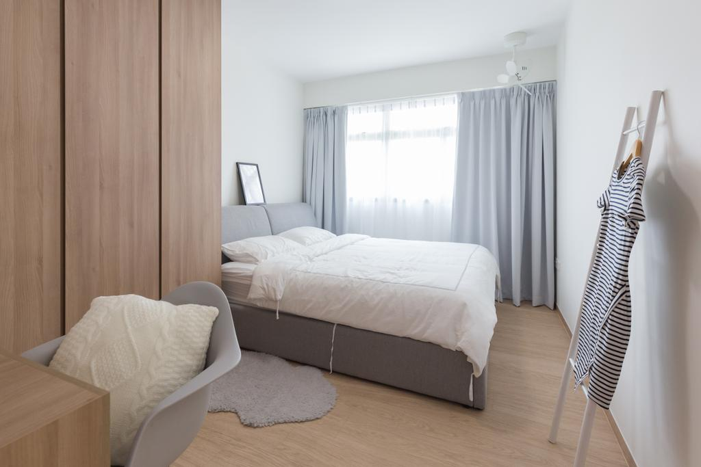 Scandinavian, HDB, Bedroom, Anchorvale Crescent, Interior Designer, Chapter One Interior Design, Bed, Furniture, Indoors, Interior Design, Room