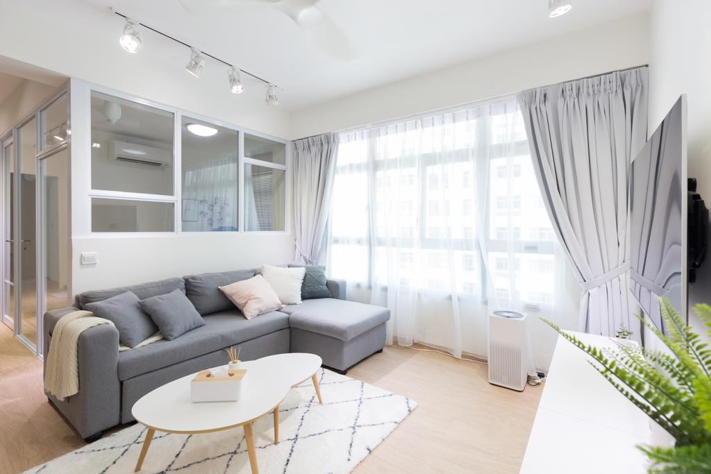 Scandinavian, HDB, Living Room, Anchorvale Crescent, Interior Designer, Chapter One Interior Design, Indoors, Interior Design, Couch, Furniture, Fern, Flora, Plant