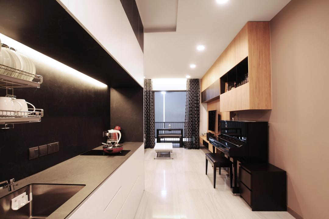 Lakeville, Intrigue-d Design Consultancy, Modern, Kitchen, Condo, Indoors, Interior Design, Leisure Activities, Music, Musical Instrument, Piano, Upright Piano