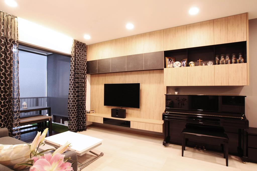 Modern, Condo, Living Room, Lakeville, Interior Designer, Intrigue-d Design Consultancy, Leisure Activities, Music, Musical Instrument, Piano, Indoors, Interior Design, Fireplace, Hearth