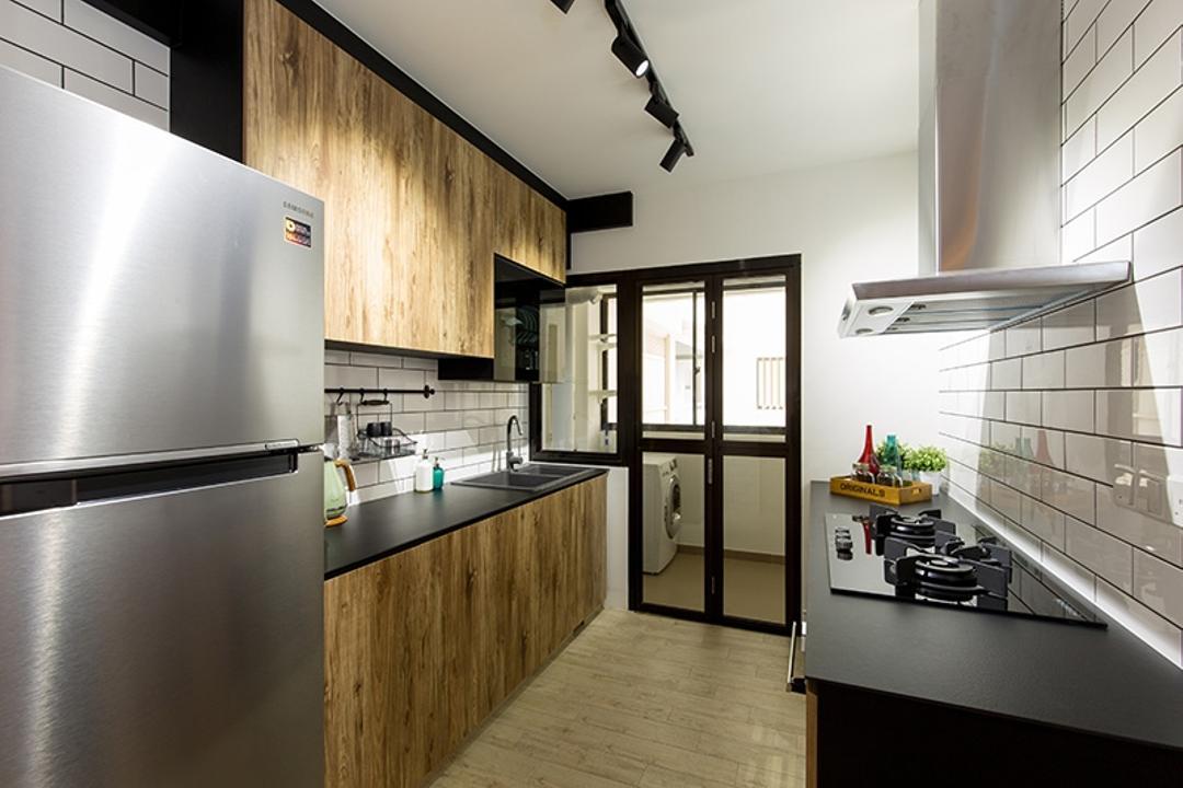 Fernvale Street (Block 472C), Thom Signature Design, Industrial, Kitchen, HDB, Fridge, Hood, Stove, Laminate, Tracklights, Wash Area, Table Top, Tiles, Wall Tiles