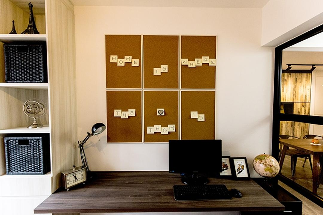 Fernvale Street (Block 472C), Thom Signature Design, Industrial, Study, HDB, Study Table, Wood, Computer Desk, Sticky Notes, Board, Shelves, Shelving, Table Lamp