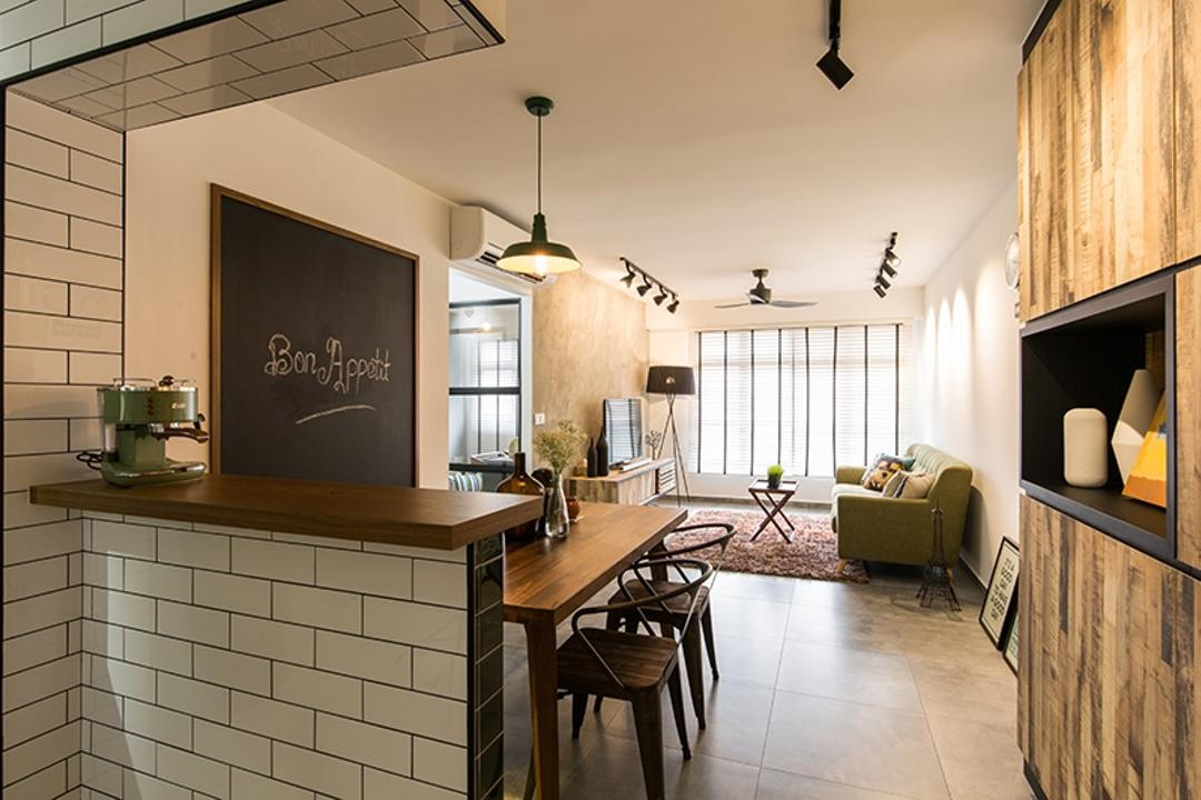 Fernvale Street (Block 472C), Thom Signature Design, Industrial, Dining Room, HDB, Bar Counter, Table, Cement Scree, Tiles, Floor Tiles, Cabinets, Storage Space, Dining Table, Dining Chairs, Dining Lights, Chalk Board, Chalk Wall, Sofa, Track Lights