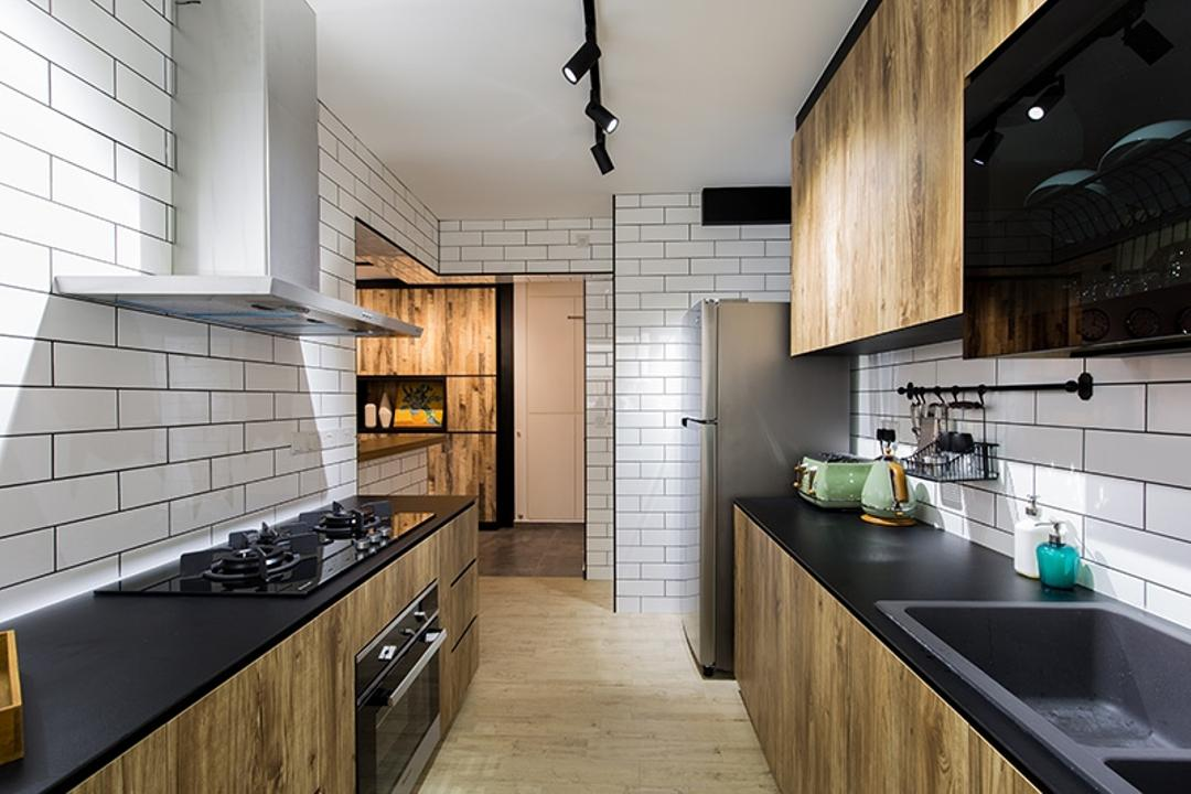 Fernvale Street (Block 472C), Thom Signature Design, Industrial, Kitchen, HDB, Wall Tiles, Laminate, Sink, Stove, Hood, Floor Tiles, Kitchen Flooring, Track Lights