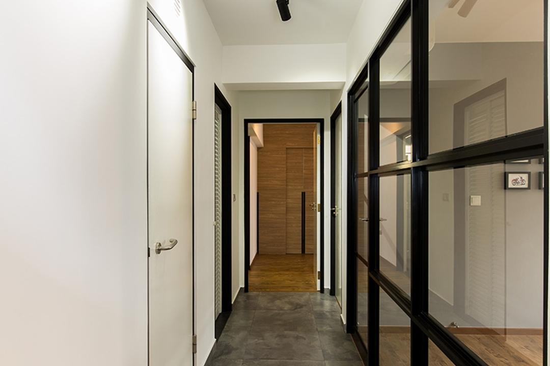 Fernvale Street (Block 472C), Thom Signature Design, Industrial, HDB, Glass Panel, Glass Door, Cement Scree, Cement Scree Tiles, Floor Tiles, Track Lights, Walkway