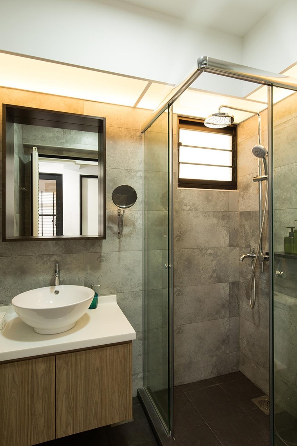 Industrial, HDB, Bathroom, Fernvale Street (Block 472C), Interior Designer, Thom Signature Design, Cement Screed, Bathroom Vanity, Bathroom Sink, Sink, Mirror, Shower Area, Shower Head