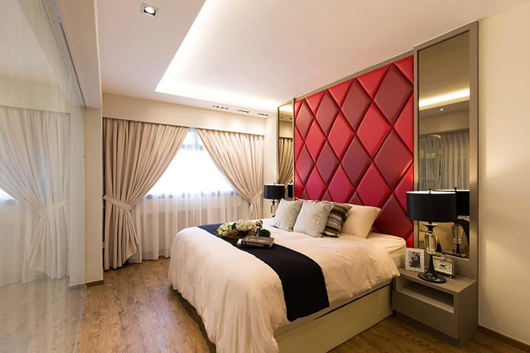 Kim Tian Road, Thom Signature Design, Modern, Bedroom, HDB, Quilt Wall Backing, Quilt, Bed Frame, Bed, Side Tables, Bedside Tables, Flooring, Curtain, Cove Light, Down Light