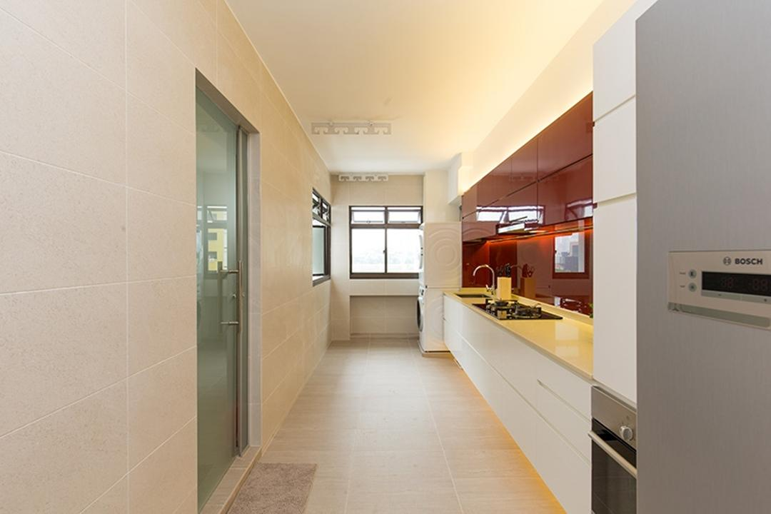 Kim Tian Road, Thom Signature Design, Modern, Kitchen, HDB, Oven, Toilet, Flooring, Tiles, Counter Top, Stove, Sink, Wash Area, Laminate