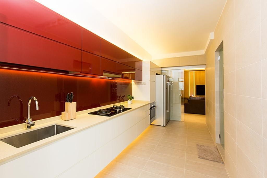 Modern, HDB, Kitchen, Kim Tian Road, Interior Designer, Thom Signature Design, White Counter Top, Red Laminate, Laminate, Cabinets, Drawers, Flooring, Tiles, Fridge
