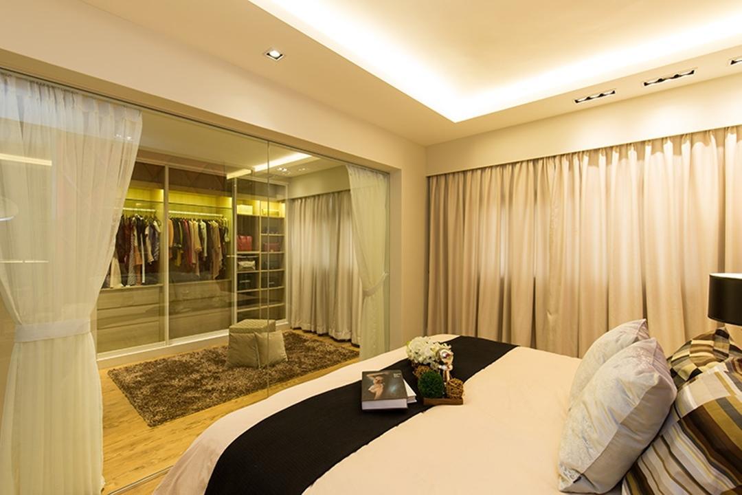 Kim Tian Road, Thom Signature Design, Modern, Bedroom, HDB, Curtian, Mirror, Walk In Wardrobe, Hacking Of Wall, Hack, Cove Light, Down Light, Bed, Clothes, Wardrobe