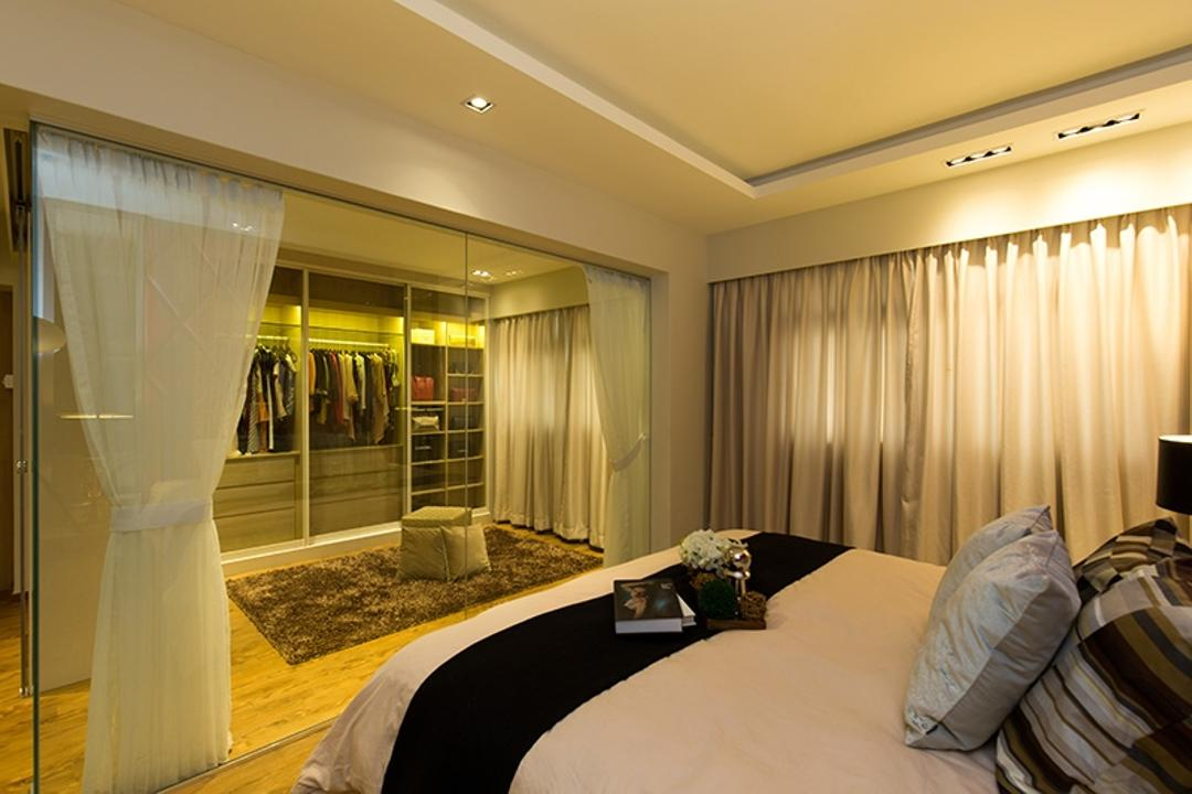 Kim Tian Road, Thom Signature Design, Modern, Bedroom, HDB, Bed, Curitan, Cove Light, Down Light, Wardrobe, Walk In Wardrobe, Clothes