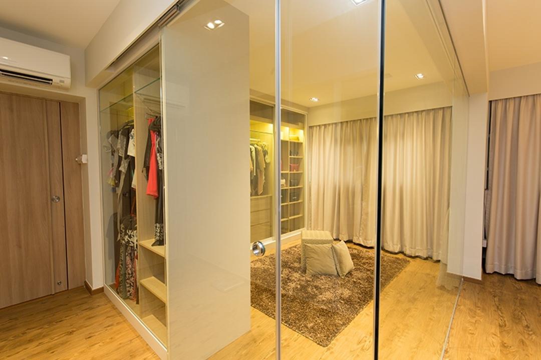 Kim Tian Road, Thom Signature Design, Modern, Bedroom, HDB, Wardrobe, Carpet, Curtian, Down Light, Aircon, Walk In Wardrobe