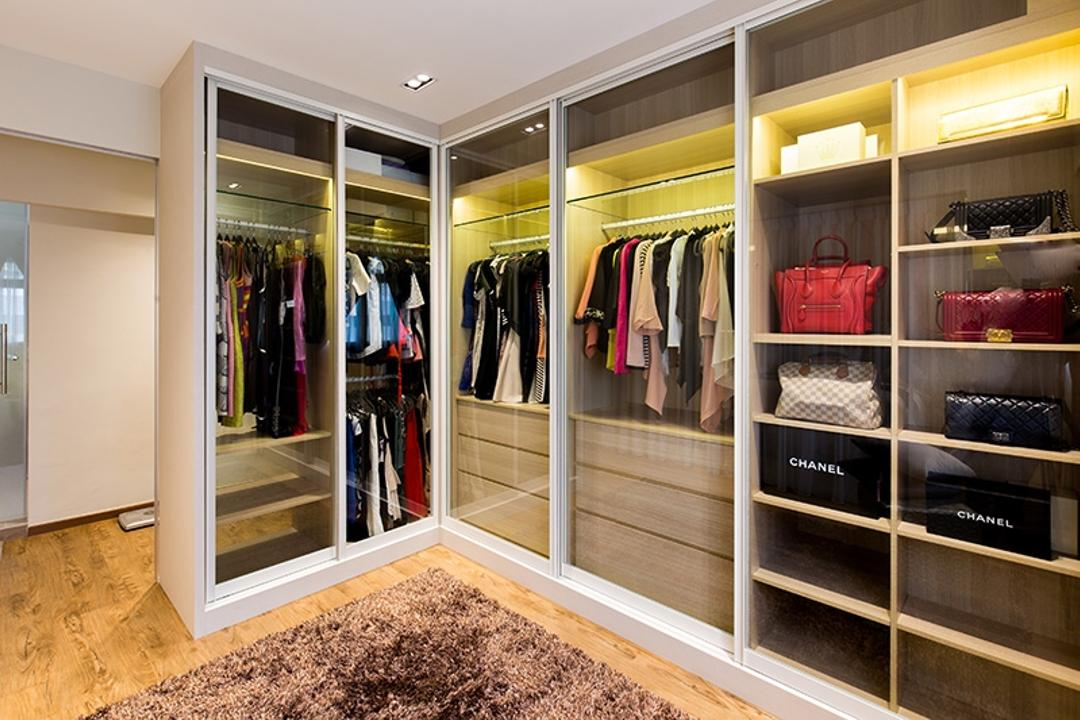 Kim Tian Road, Thom Signature Design, Modern, Bedroom, HDB, Walk In Wardrobe, Wardrobe, Clothes, Bags, Drawers, Hanging, Down Light, Carpet