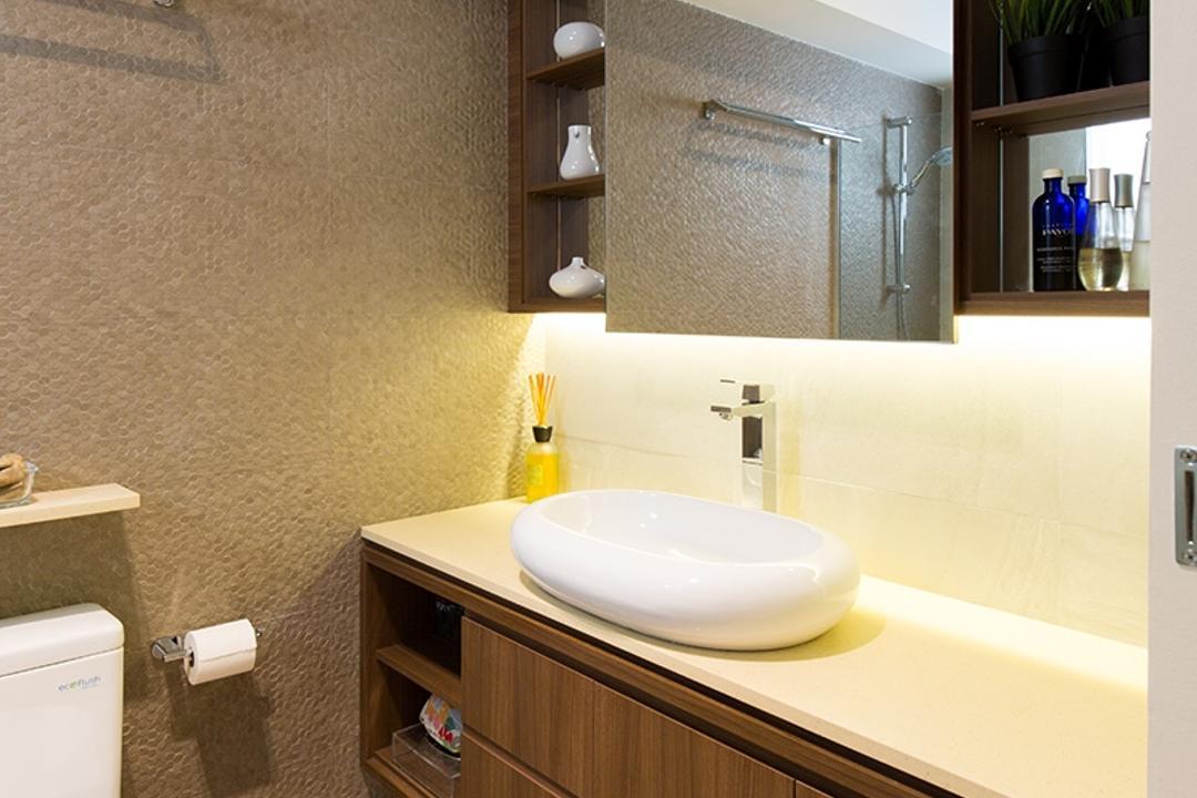 Kim Tian Road, Thom Signature Design, Modern, Bathroom, HDB, Toilet Bowl, Toilet Sink, Sink, Laminate, Toilet Tiles, Tiles, Floor Tiles, Cove Light, Storage, Sliding Mirrior, Mirror, Rack, Towel Rack