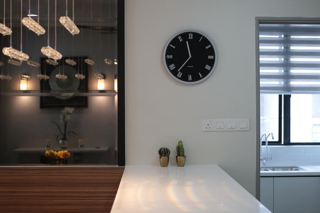 YOU Vista, Cheras, Anith Design Studio, Contemporary, Industrial, Condo, Dining Room, Indoors, Interior Design, Room, Clock, Wall Clock