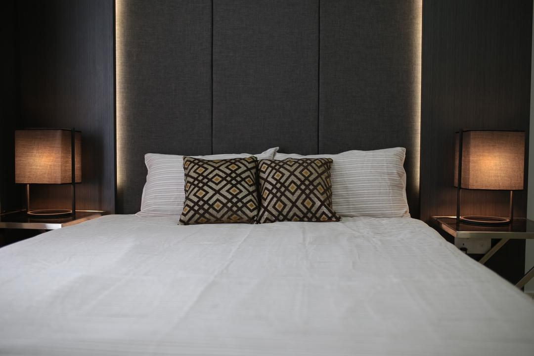 YOU Vista, Cheras, Anith Design Studio, Contemporary, Industrial, Bedroom, Condo, Bed, Furniture, Cushion, Home Decor, Indoors, Interior Design, Room