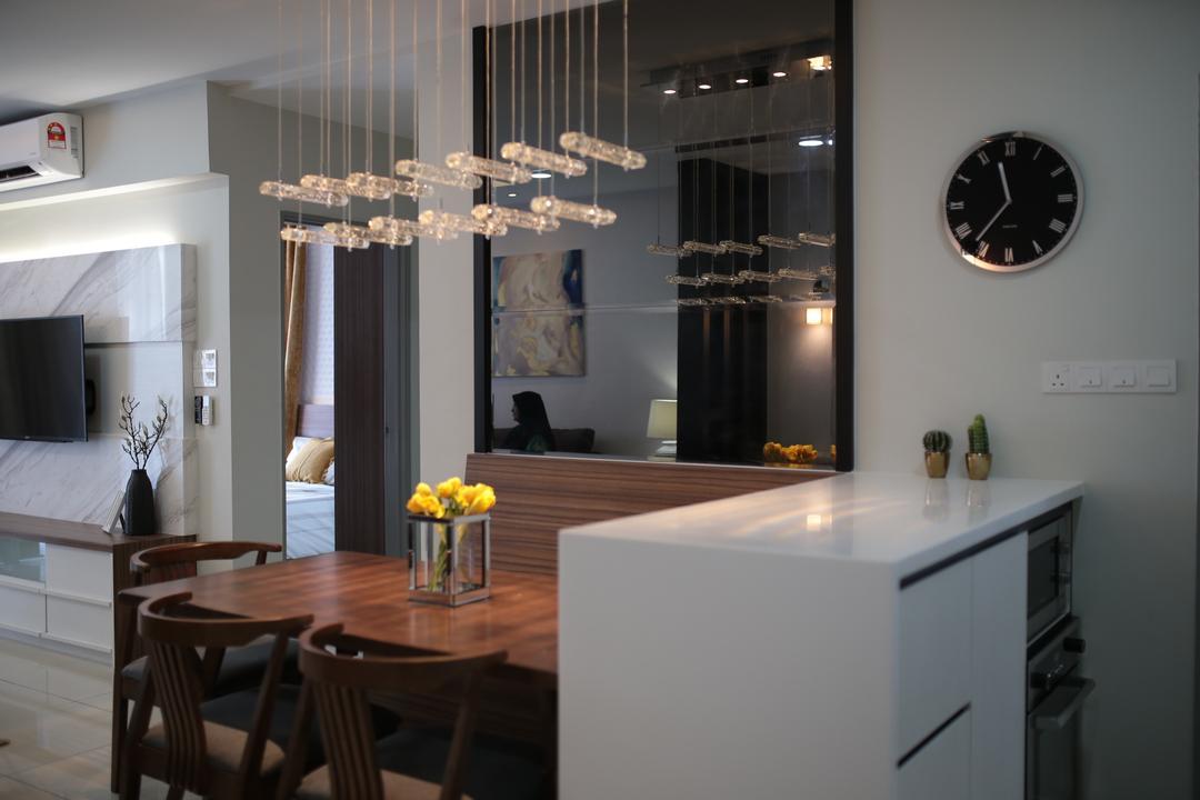 YOU Vista, Cheras, Anith Design Studio, Contemporary, Industrial, Dining Room, Condo, Clock, Wall Clock, Indoors, Interior Design, Room, Dining Table, Furniture, Table, Chair